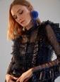 morhipoxsudi etuz Fırfır Detaylı Metalik Desenli Tül Elbise Mavi